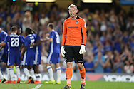 Goalkeeper Steve Mildenhall of Bristol Rovers looks on dejected as Michy Batshuayi of Chelsea celebrates scoring his sides 1st goal of the match to make it 1-0. EFL Cup 2nd round match, Chelsea v Bristol Rovers at Stamford Bridge in London on Tuesday 23rd August 2016.<br /> pic by John Patrick Fletcher, Andrew Orchard sports photography.