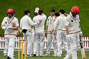 Wellington Firebirds players celebrate.<br /> Wellington Firebirds v Canterbury, Round 1 of the 2020-2021 Plunket Shield domestic cricket competition at Basin Reserve, Wellington on Wednesday 21st October 2020.<br /> Copyright photo: Masanori Udagawa / www.photosport.nz