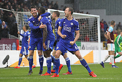 March 16, 2019 - Burnley, Lancashire, United Kingdom - BURNLEY, UK 16TH MARCH Jonny Evans of Leicester City celebrates after Wes Morgan their second goal during the Premier League match between Burnley and Leicester City at Turf Moor, Burnley on Saturday 16th March 2019. (Credit: Mark Fletcher   MI News) (Credit Image: © Mi News/NurPhoto via ZUMA Press)