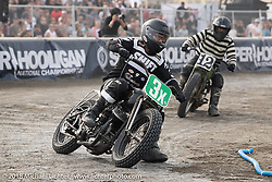 Scott Jones of Noise Cycles in the Born Free Tank Shift class racing at the RSD Moto Beach Classic. Huntington Beach, CA, USA. Sunday October 28, 2018. Photography ©2018 Michael Lichter.