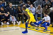 Golden State Warriors forward Kevin Durant (35) celebrates a made basket against the Minnesota Timberwolves at Oracle Arena in Oakland, Calif., on January 25, 2018. (Stan Olszewski/Special to S.F. Examiner)