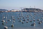 Yachts at moorings port of Falmouth, Cornwall, England, UK