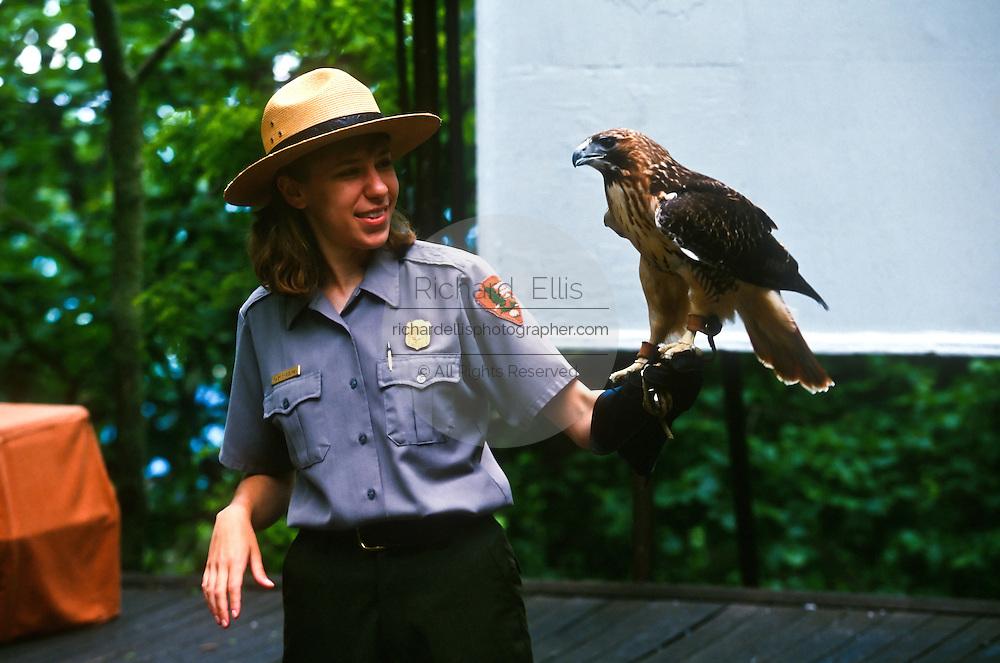 A US National Park Service Ranger demonstrates birds of prey with a hawk in Shenandoah National Park