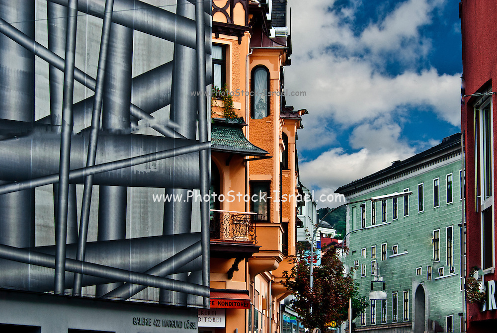 Building covered for renovation, Munich, Bavaria, Germany