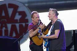 Sting and his son songwriter and musician Joe Sumner perform during Jazz A Juan festival in Juan-Les-Pins, south of France on July 20, 2017. Photo by Patrick Clemente/ABACAPRESS.COM