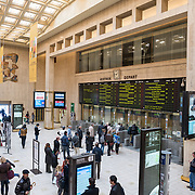 Passengers line up to buy tickets at the ticket window in the main concourse inside Gare Centrale (Central Station) in Brussels, Belgium.
