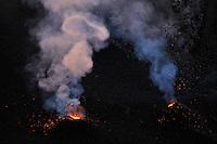 Gas in the crater of Stromboli volcano, Explosion, Stromboli, Etna, Italy