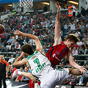 CSKA Moscow's Andrei Kirilenko (R) during their Euroleague Final Four semi final Game 1 basketball match CSKA Moscow's between Panathinaikos at the Sinan Erdem Arena in Istanbul at Turkey on Friday, May, 11, 2012. Photo by TURKPIX