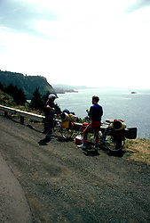Oregon: Oregon Coast, Biking, Bikers near Cape Foulweather,  Photo: orcoas103  .Photo copyright Lee Foster, www.fostertravel.com, 510/549-2202, lee@fostertravel.com