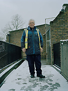Cressingham Gardens caretaker Kevin Honour on 3rd February 2015 in South London, United Kingdom. Cressingham Gardens is a council garden estate, located on the southern edge of Brockwell Park. It comprises of 306 dwellings and built to the design of Lambeth Borough Council architect Edward Hollamby in the early 1970s. In 2012, Lambeth Council proposed regeneration of the estate, a decision highly opposed by many residents. Since the announcement, the highly motivated campaign group Save Cressingham Gardens has been active.