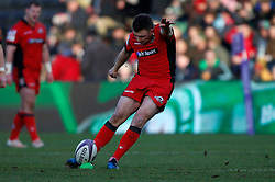 Edinburgh Rugby's Duncan Weir kicks a penalty during the European Challenge Cup, pool five match at Twickenham Stoop, London.