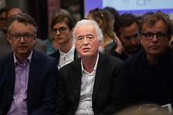 Rock legend Jimmy Page of Led Zeppelin attends a planning committee hearing where he is objecting against neighbouring rock star Robbie Williams' plans for a major basement extension under Williams' front lawn, which Page says will endanger both Williams' and his own grade one listed houses in Kensington. London, May 29 2018.