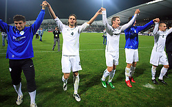 Slovenian players Bojan Jokic (13),  Marko Suler (4), Valter Birsa (10, Mirnes Sisic (7), Miso Brecko (2)  celebrate at the fourth round qualification game of 2010 FIFA WORLD CUP SOUTH AFRICA in Group 3 between Slovenia and Northern Ireland at Stadion Ljudski vrt, on October 11, 2008, in Maribor, Slovenia.  (Photo by Vid Ponikvar / Sportal Images)