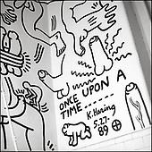 Keith Haring's bathroom mural