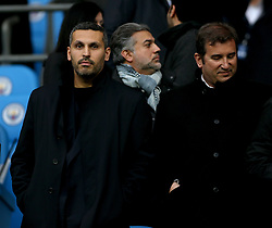 Manchester City chairman Khaldoon Al Mubarak (left) and CEO Ferran Soriano (right) in the stands during the UEFA Champions League, Quarter Final at the Etihad Stadium, Manchester.