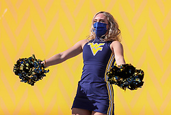 Oct 31, 2020; Morgantown, West Virginia, USA; A West Virginia Mountaineers dancer performs during the third quarter against the Kansas State Wildcats at Mountaineer Field at Milan Puskar Stadium. Mandatory Credit: Ben Queen-USA TODAY Sports