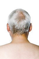 caucasian man portrait rear view isolated studio on white background