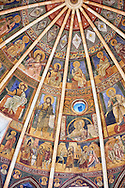 Romanesque frescoes inside the dome of the Romanesque Baptistery of Parma, circa 1196, (Battistero di Parma), Italy .<br /> <br /> If you prefer you can also buy from our ALAMY PHOTO LIBRARY  Collection visit : https://www.alamy.com/portfolio/paul-williams-funkystock/romanesque-art-antiquities.html<br /> Type -     Parma    - into the LOWER SEARCH WITHIN GALLERY box. <br /> <br /> Visit our ROMANESQUE ART PHOTO COLLECTION for more   photos  to download or buy as prints https://funkystock.photoshelter.com/gallery-collection/Medieval-Romanesque-Art-Antiquities-Historic-Sites-Pictures-Images-of/C0000uYGQT94tY_Y