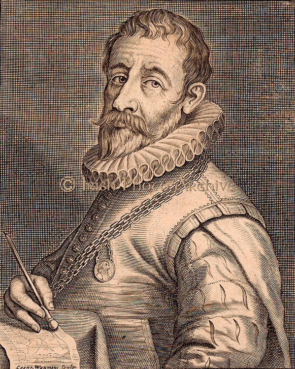 Jan Sadeler (1550-1600) engraver who was born in Brussels and died in Venice. In his hand he holds a burin, the engraver's main tool. Copperplate engraving by Conrade Waumans (active 1642).