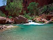 Havasu Creek, Colorado River mile 156.5, Grand Canyon National Park, Havasupai Indian Reservation, Arizona, USA; 9 May 2008; Pentax 67II, Velvia 100, polarizer; Gene Sines, Deborah Anderson, Tom Bailey are in the photo, MRs on file.