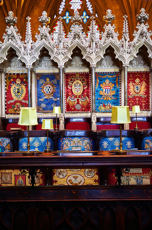 """The choir of the medieval Wells Cathedral built in the Early English Gothic style in 1175, Wells Somerset, England . Its Gothic architecture is mostly in Early English style of the late 12th – early 13th centuries. Building began about 1175 at the east end with the choir. Historian John Harvey sees it as Europe's first truly Gothic structure. Its Early English front with 300 sculpted figures, is seen as a """"supreme triumph of the combined plastic arts in England"""".<br /> <br /> Visit our MEDIEVAL PHOTO COLLECTIONS for more   photos  to download or buy as prints https://funkystock.photoshelter.com/gallery-collection/Medieval-Middle-Ages-Historic-Places-Arcaeological-Sites-Pictures-Images-of/C0000B5ZA54_WD0s"""
