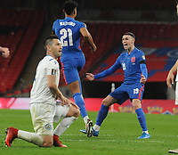 Football - 2022 FIFA World Cup - European Qualifying - Group I - England vs San Marino - Wembley Stadium<br /> <br /> Ollie Watkins of England celebrates scoring goal no 5 with Ben Foden on his debut<br /> <br /> Credit : COLORSPORT/ANDREW COWIE
