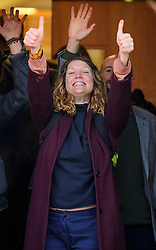 © Licensed to London News Pictures. 22/12/2016. London, UK. A group of protestors, including SOPHIA LYSACZANKO (pictured) look defiant as they arrive at Ealing Magistrates Court in London.  protestors are charged with Wilful Obstruction of the Highway after blocking an access road to Heathrow on November 18, 2016. Photo credit: Ben Cawthra/LNP