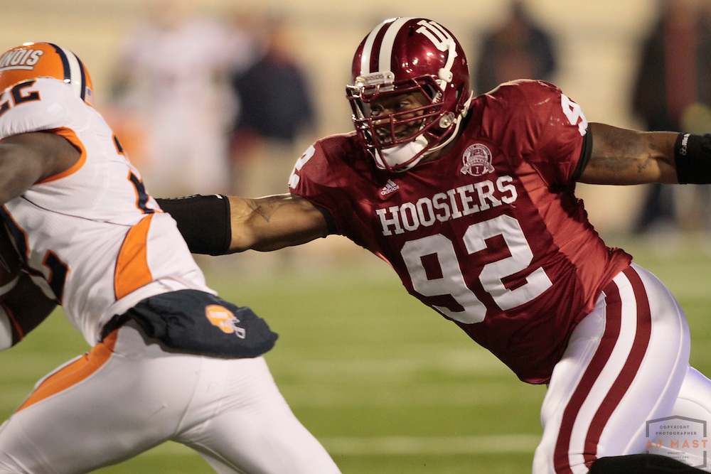 17 October 2009: Indiana defensive end Greg Middleton (92) as the Indiana Hoosiers played the Illinois Illini in a college football game in Bloomington, Ind.