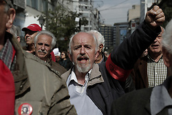 April 4, 2017 - Athens, Attica, Greece - Pensioners shout slogans during a protest rally against cuts to their  pensions, in central Athens, Greece.  (Credit Image: © Panayotis Tzamaros/NurPhoto via ZUMA Press)