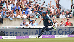 June 13, 2018 - London, England, United Kingdom - England's Jonny Bairstow celebrate the catch of Glenn Maxwell of Australia bowled by England's Liam Plunkett .during HSBC World Rugby Sevens Series Pool A match between Fiji  against Argentina at Twickenham stadium, London, on 2 June 2018  (Credit Image: © Kieran Galvin/NurPhoto via ZUMA Press)