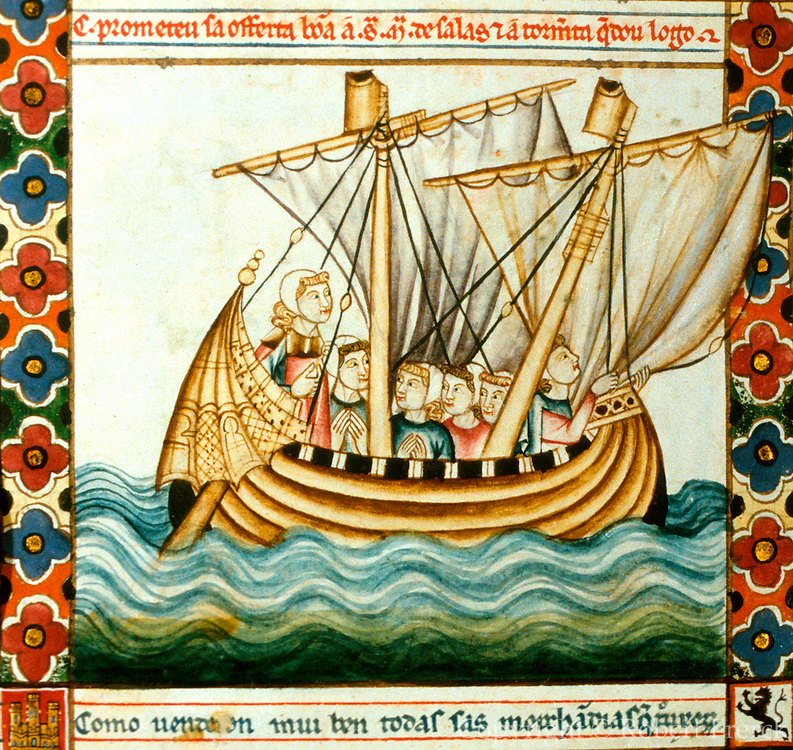 SPAIN, MIDDLE AGES, EL ESCORIAL 13thC Cantigas illuminated poems created for Alfonso X of Castile shows medieval sailing ship at sea