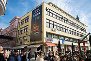 A large ad on the side of a building for Jack Daniel's in Sarajevo, Bosnia and Herzegovina