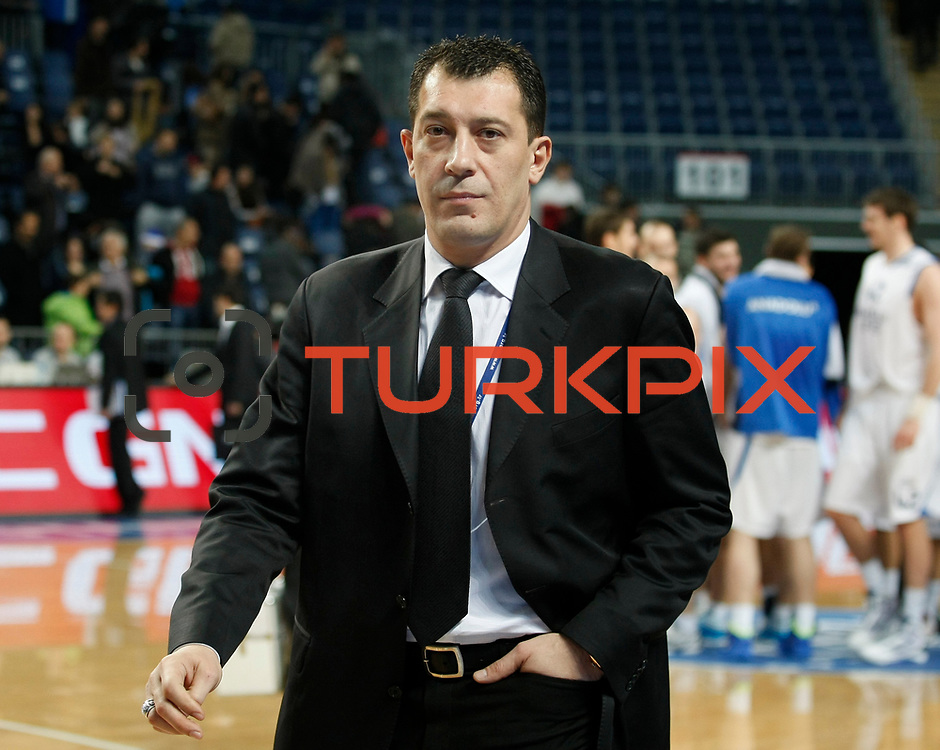 Anadolu Efes's coach Ufuk Sarica during their Turkish Basketball League match Anadolu Efes between Mersin BSB at Sinan Erdem Arena in Istanbul, Turkey, Saturday, January 14, 2012. Photo by TURKPIX