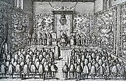 Charles V gives the Government of the Netherlands to his son Philip'.  When Emperor Charles V felt that his strength declined, he held the State of the Netherlands meeting on 25 October 1555, in Brussels, and instructed the Government of those countries to his son Philip.  He reign was still bearable in the first year, but soon came an era of oppression.