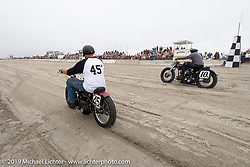Ready to race their 45 inch Harley-Davidson flatheads, Karen Howell on her 1942 WLA against Ed Jakubowski Jr on his 1947 WL at TROG (The Race Of Gentlemen). Wildwood, NJ. USA. Sunday June 10, 2018. Photography ©2018 Michael Lichter.