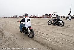 Ready to race their 45 inch Harley-Davidson flatheads, Karen Howell on her 1942 WLA against Ed Jakubowski Jr on his 1947 WL at TROG (The Race Of Gentlemen). Wildwood, NJ. USA. Sunday June 10, 2018. Photography ©2018 Michael Lichter.