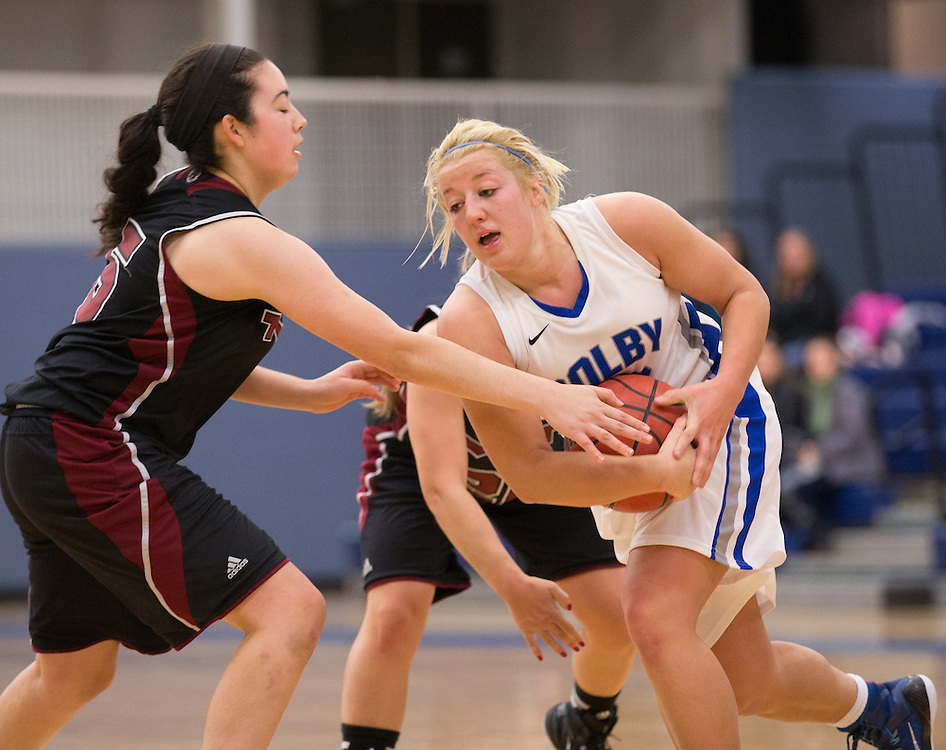 Carylanne Wolfington, of Colby College, in a NCAA Division III basketball game against the Massuchesetts Institute of Technology on November 22, 2014 in Waterville, ME. (Dustin Satloff/Colby College Athletics)