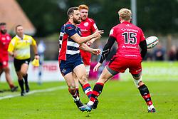 Luke Morahan of Bristol Rugby is challenged by Scott van Breda (capt) of Jersey Reds - Rogan/JMP - 28/10/2017 - RUGBY UNION - Stade Santander International - St Peter, Jersey - Jersey Reds v Bristol Rugby - Greene King IPA Championship.
