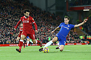 Cesar Azpilicueta of Chelsea (r) gets to the ball just ahead of Mohamed Salah of Liverpool. Premier League match, Liverpool v Chelsea at the Anfield stadium in Liverpool, Merseyside on Saturday 25th November 2017.<br /> pic by Chris Stading, Andrew Orchard sports photography.