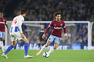 West Ham United midfielder Felipe Anderson (8) takes on Brighton and Hove Albion midfielder Davy Propper (24) during the Premier League match between Brighton and Hove Albion and West Ham United at the American Express Community Stadium, Brighton and Hove, England on 5 October 2018.