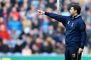 Tottenham Hotspur Manager Mauricio Pochettino makes his point. Premier League match, Burnley v Tottenham Hotspur at Turf Moor in Burnley , Lancs on Saturday 1st April 2017.<br /> pic by Chris Stading, Andrew Orchard sports photography.