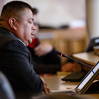 040414       Cable Hoover<br /> <br /> Council Delegate Alton Shepherd introduces a bill for the removal of Speaker Johnny Naize during a special session at the Navajo Nation Council in Window Rock Friday.
