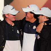 Ryder Cup 2016. Day Three. Phil Mickelson, (center), with Brandt Snedeker, (left), and Zach Johnson after the United States victory in the Ryder Cup tournament at Hazeltine National Golf Club on October 02, 2016 in Chaska, Minnesota.  (Photo by Tim Clayton/Corbis via Getty Images)