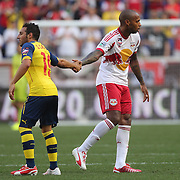 Santi Cazorla, (left), Arsenal, shakes hands with Thierry Henry, New York Red Bulls, as he is substituted during the New York Red Bulls Vs Arsenal FC,  friendly football match for the New York Cup at Red Bull Arena, Harrison, New Jersey. USA. 26h July 2014. Photo Tim Clayton