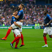 PARIS, FRANCE - September 10: Clement Lenglet #19 of France is congratulated by Olivier Giroud #9 of France after scoring his sides second goal during the France V Andorra, UEFA European Championship 2020 Qualifying match at Stade de France on September 10th 2019 in Paris, France (Photo by Tim Clayton/Corbis via Getty Images)