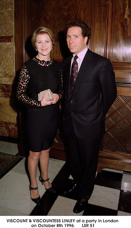 VISCOUNT & VISCOUNTESS LINLEY at a party in London on October 8th 1996.LSR 51