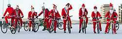 © under license to London News Pictures.  18/12/2010 Bikers from a local Plymouth bike club dressed as Santa meet in the snow on Plymouth Hoe this morning (18/12/2010). Snow and cold weather has hit much of the South West of England. Picture credit should read: David Hedges/LNP.