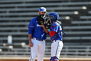 WINSTON-SALEM, NC - MARCH 04: UMass Lowell's Henry Funaro (left) and Steve Passatempo (right). The Wake Forest University Demon Deacons hosted the UMass Lowell River Hawks on March 4, 2018, at David F. Couch Ballpark in Winston-Salem, NC in a Division I College Baseball game. Wake Forest won the game 14-7.