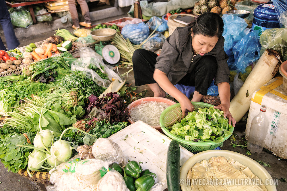 Fresh produce for sale at a morning market in Hanoi, Vietnam.