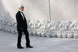 Karl Lagerfeld walks at the end of his Haute-Couture Spring-Summer 2008 fashion show for Chanel held at the Grand Palais, in Paris, France, on January 22, 2008. Photo by Nebinger-Taamallah/ABACAPRESS.COM